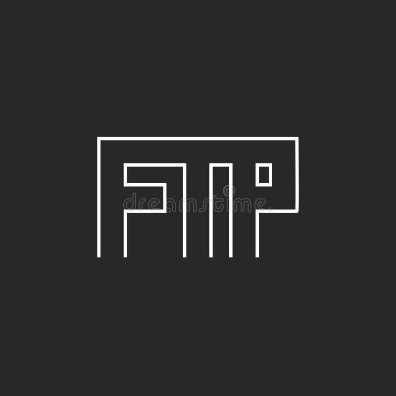 Ftp som märker logomonogrammet, t-skjorta för kommunikationsteknologi tryck stock illustrationer