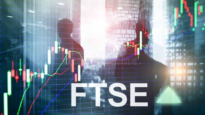 FTSE 100金融时报联交所索引英国英国英国投资与图和图表的贸易概念 向量例证