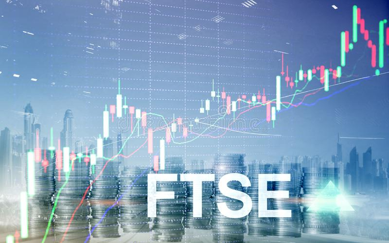 FTSE 100 Financial Times Stock Exchange Index United Kingdom UK England Investment Trading concept with chart and graphs stock illustration