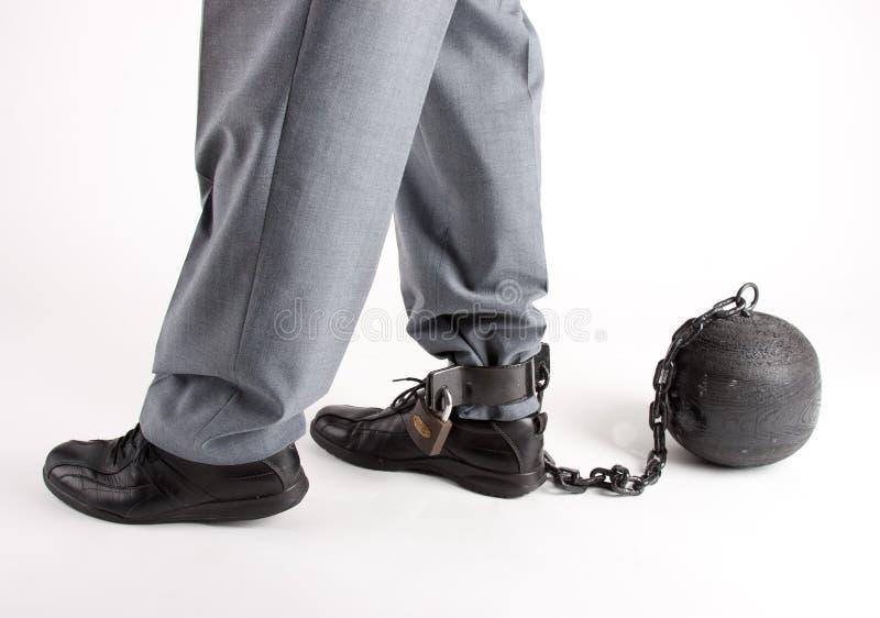 Fuß des Mannes mit Gefängniskugel lizenzfreies stockbild