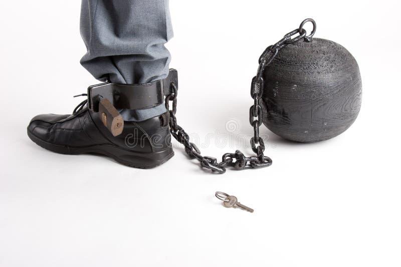 Fuß des Mannes mit Gefängniskugel stockbild