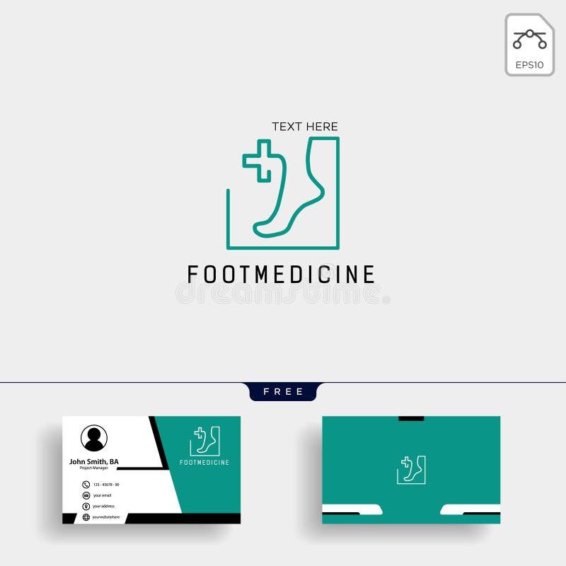 Fuß, Knöchelmedizin-Logoschablone mit freiem Visitenkarteentwurf stock abbildung