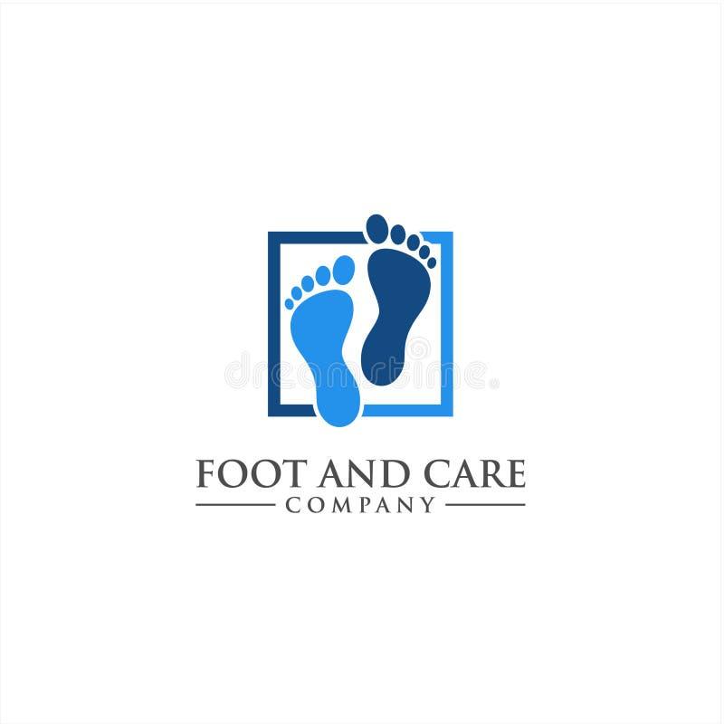 Fuß- und Sorgfaltikonenlogoschablone, Fuß- und Knöchelgesundheitswesen stock abbildung