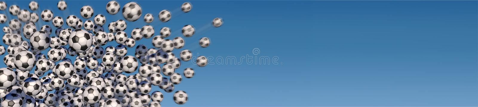 Flying soccer balls against a blue sky royalty free illustration