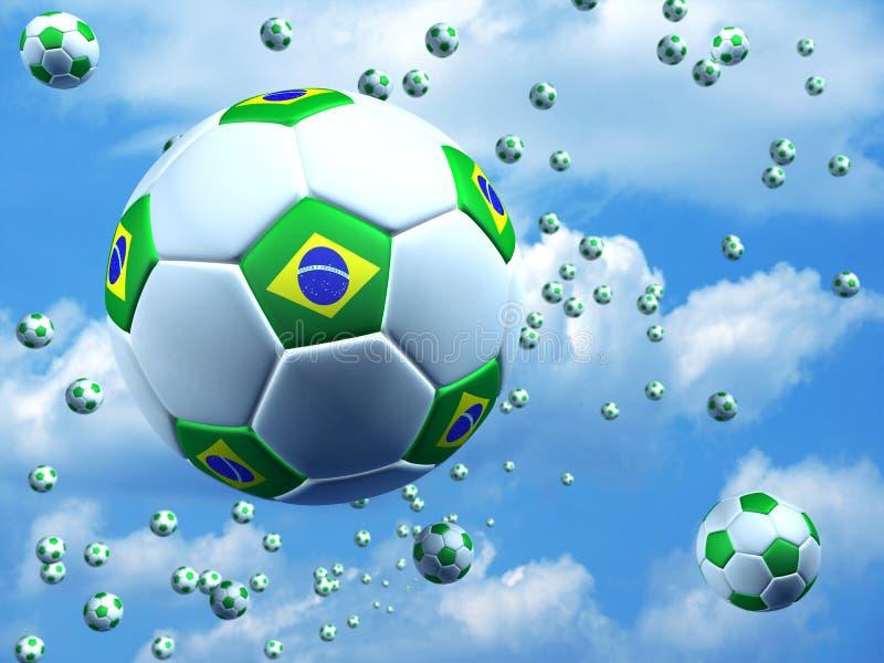 Fußbälle mit brasilianischer Flagge stock abbildung