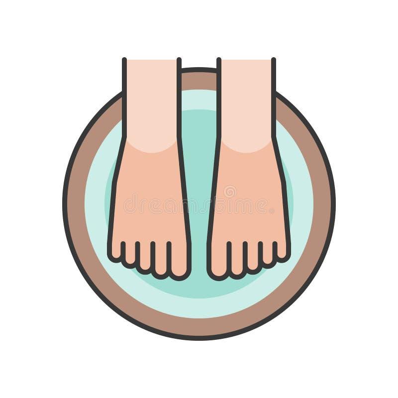 Fußbadekurort, Fuß tränken in der hölzernen Wanne, gefüllte Entwurfsikone lizenzfreie abbildung