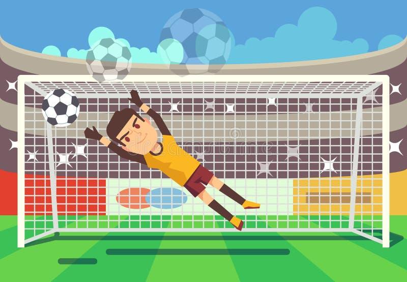 Fußball, anziehender Ball des Fußballtorhüters in der Zielvektorillustration vektor abbildung