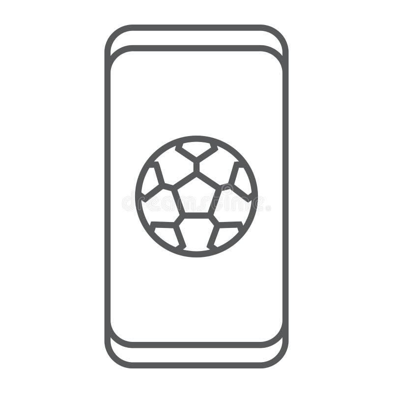 Fußball App auf dünner Linie Ikone des Smartphone, Anwendung und Sport, Fußball Appzeichen, Vektorgrafik, ein lineares Muster an stock abbildung