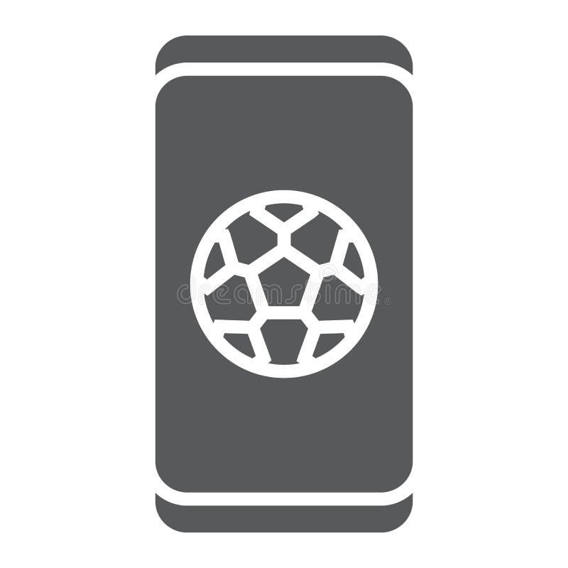Fußball App auf Smartphone Glyphikone, Anwendung und Sport, Fußball Appzeichen, Vektorgrafik, ein festes Muster auf a stock abbildung