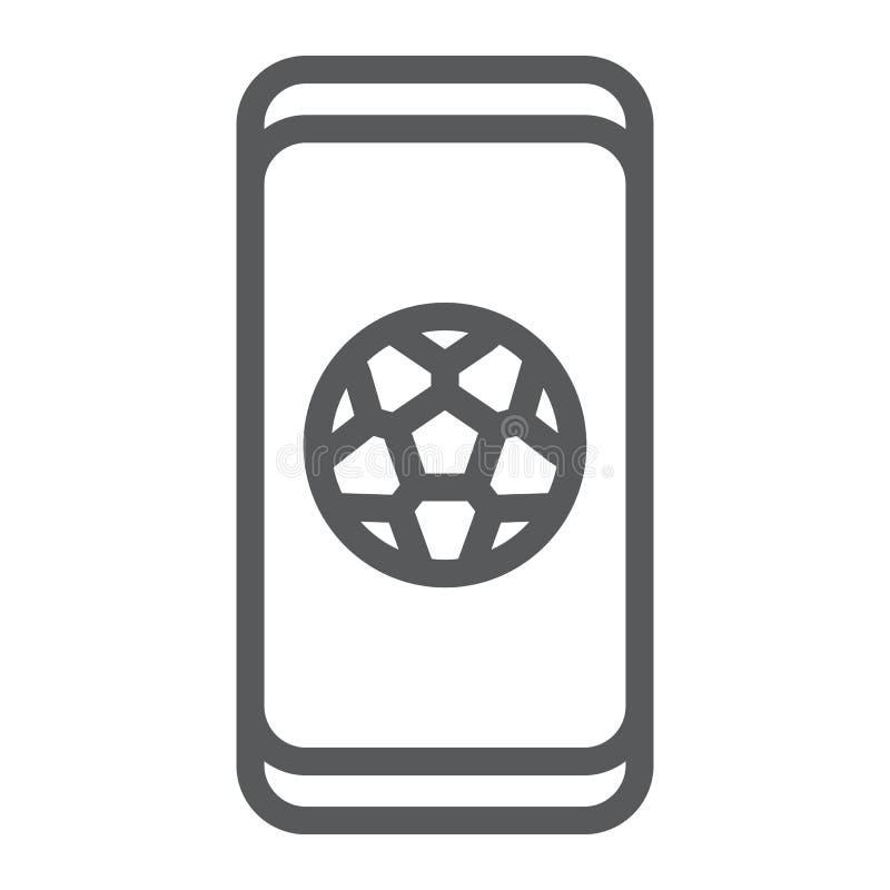 Fußball App auf Smartphonelinie Ikone, Anwendung und Sport, Fußball Appzeichen, Vektorgrafik, ein lineares Muster auf a vektor abbildung