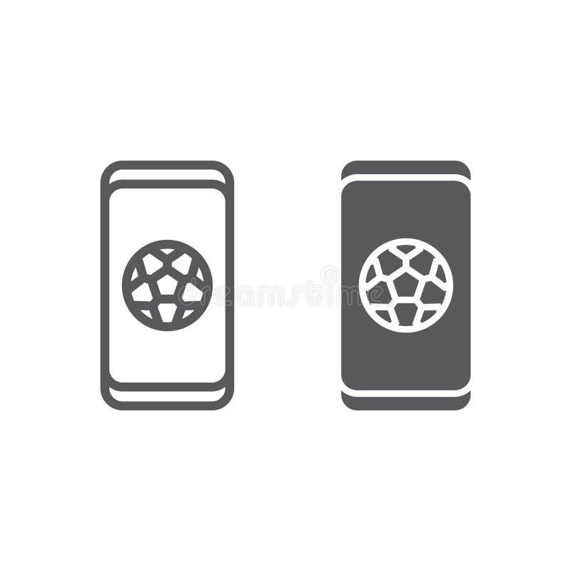 Fußball App auf Smartphonelinie und Glyphikone, Anwendung und Sport, Fußball Appzeichen, Vektorgrafik, ein lineares vektor abbildung