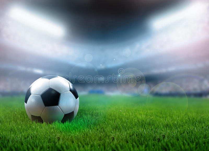 Fußball auf dem Gras stock abbildung