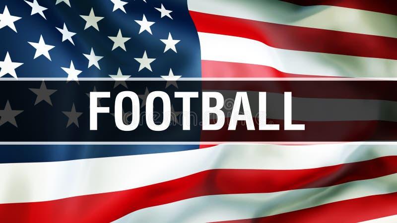 Fußball auf einem USA-Flaggenhintergrund, Wiedergabe 3D Staaten von Amerika fahnenschwenkend im Wind Stolze wellenartig bewegende vektor abbildung