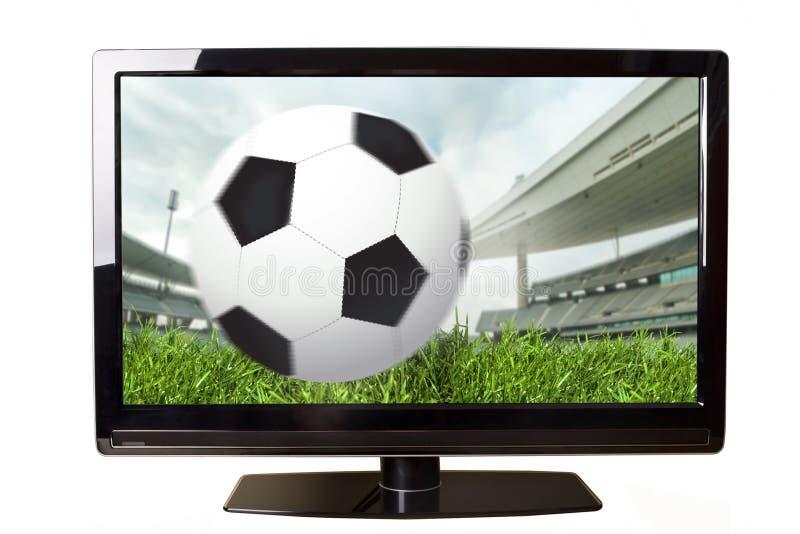 Fußball auf Fernsehapparat stockfotos