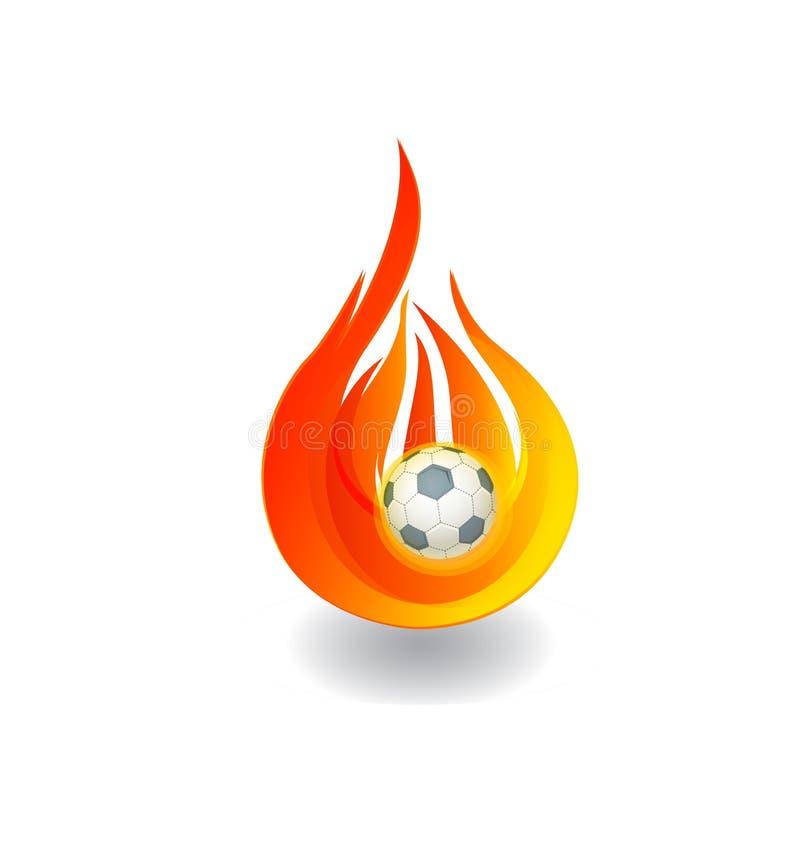 Fußball auf Feuerlogo stock abbildung
