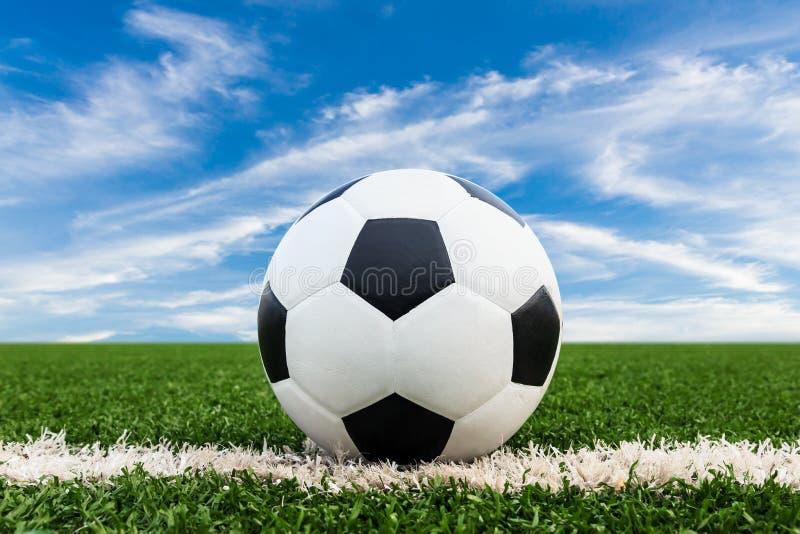 Fußball auf grünem Gras lizenzfreies stockbild