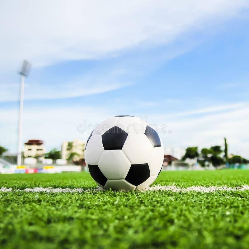 Fußball auf grünem Gras stockbild