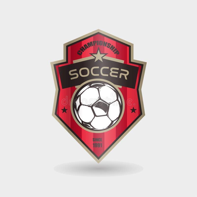 Fußball-Fußball-Ausweis Logo Design Templates   Sport Team Identity Vector Illustrations lokalisiert auf weißem Hintergrund stock abbildung