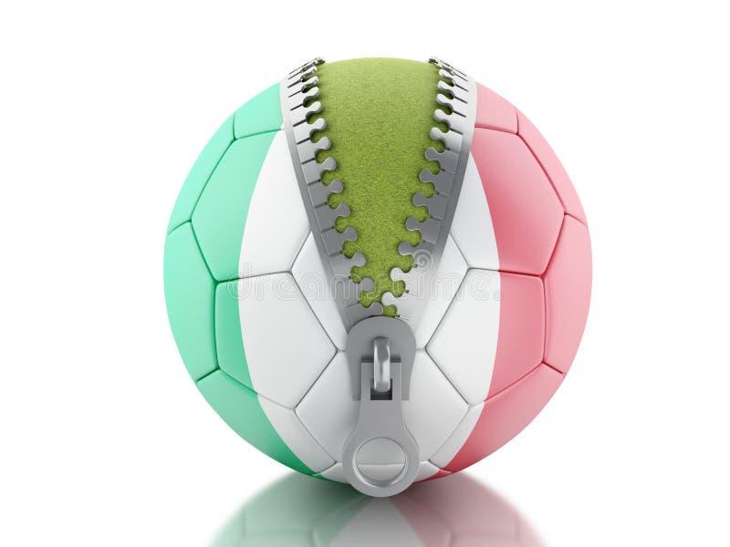 Fußball 3d mit italienischer Flagge vektor abbildung