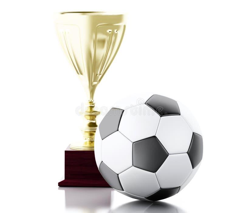 Fußball 3d und Trophäe Sport-Konzept vektor abbildung