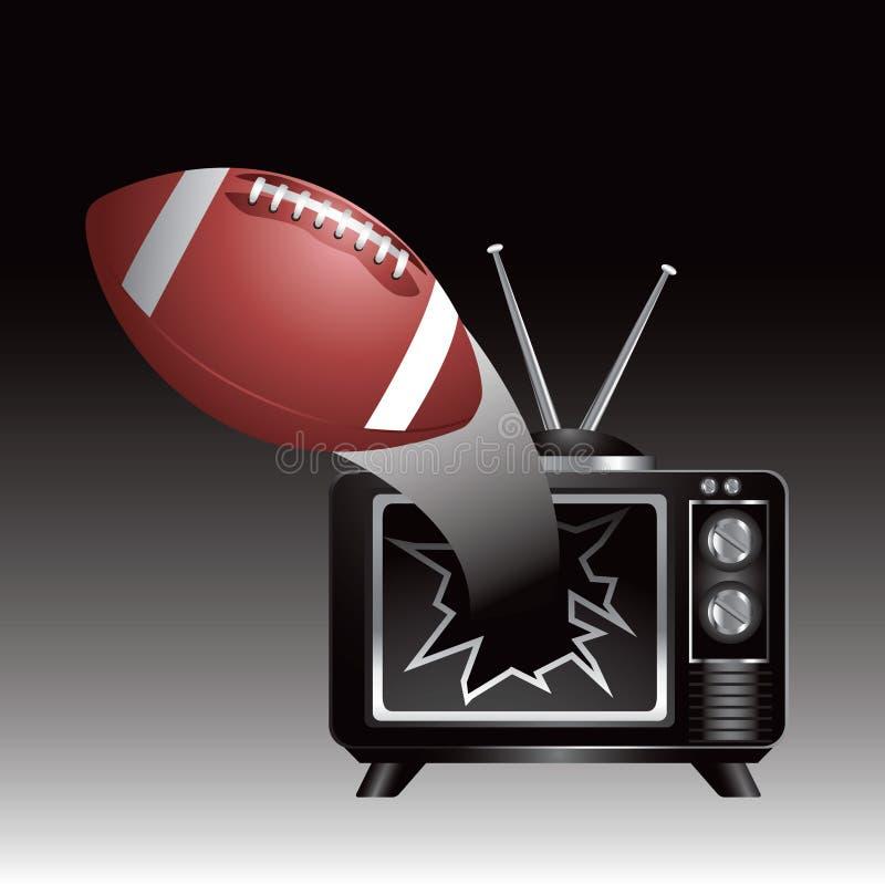 Fußball, der aus Fernsehen herauskommt stock abbildung
