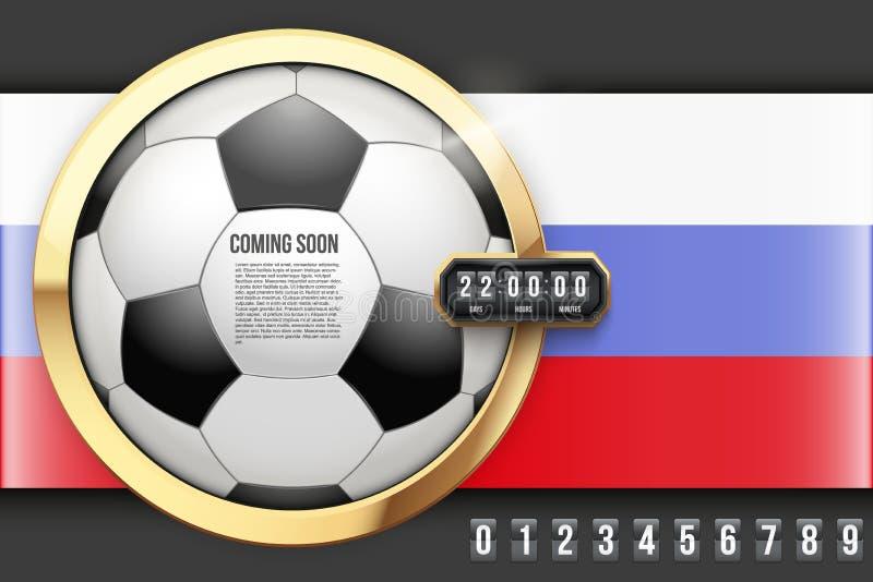 Fußball, der bald kommen und Count-downtimer lizenzfreie abbildung