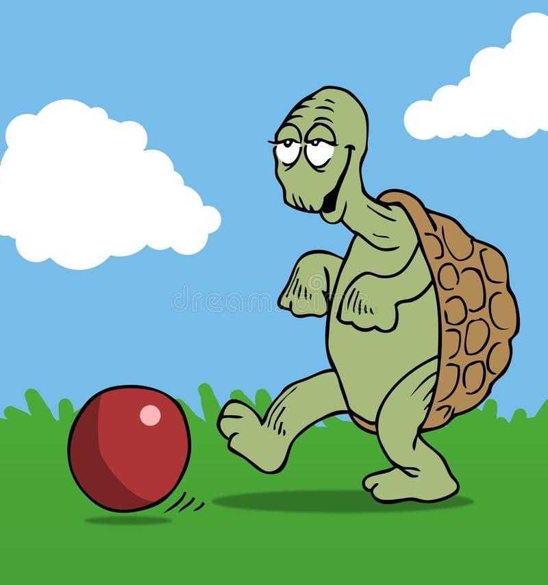 Fußball, der Schildkröte spielt stock abbildung