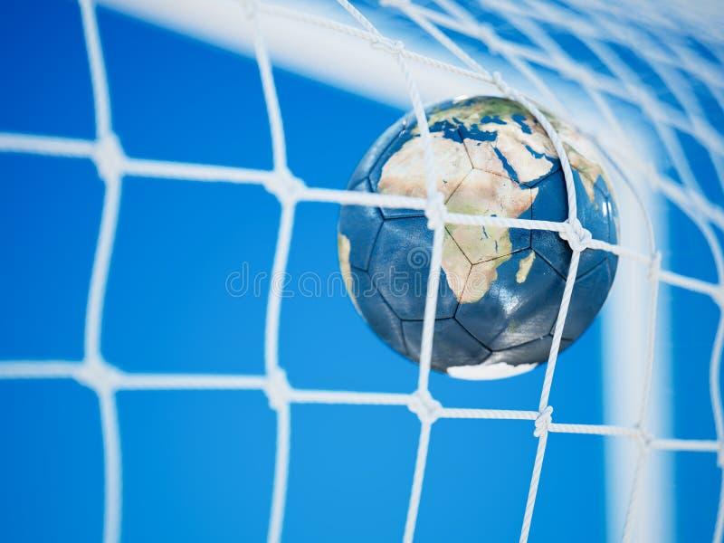 Fußball-Erdplaneten-Fußballball lizenzfreie abbildung