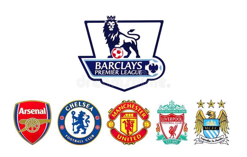 Fußball erster Liga Barclayss schlägt Logo mit einer Keule vektor abbildung