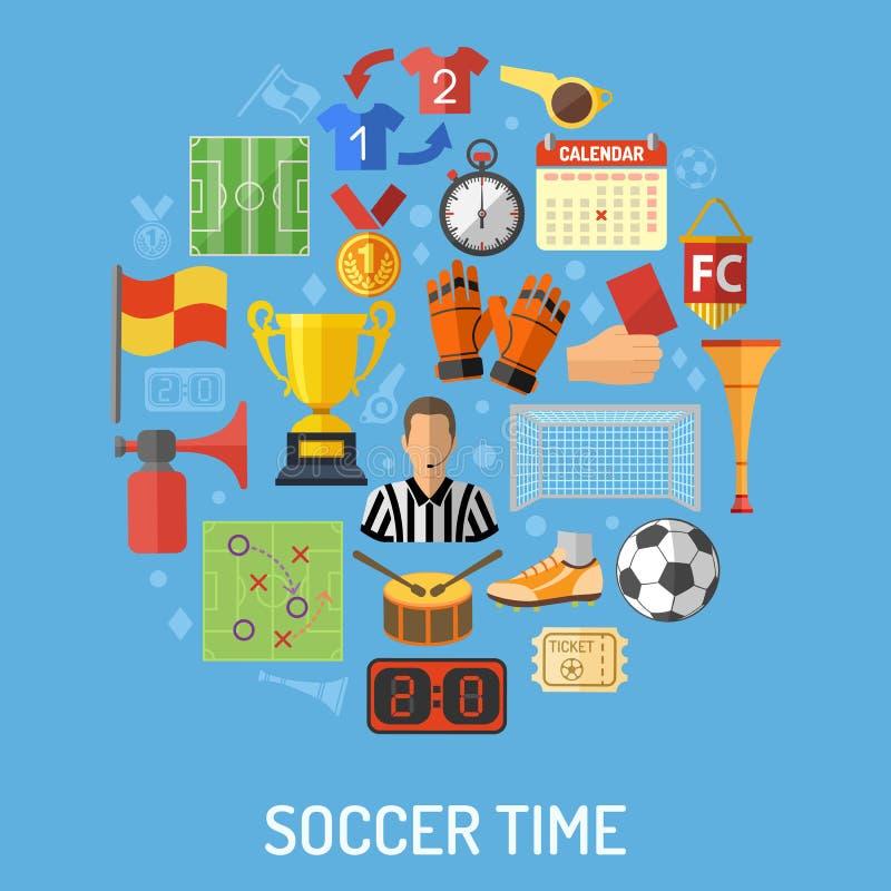 Fußball-flaches Ikonen-Konzept stock abbildung