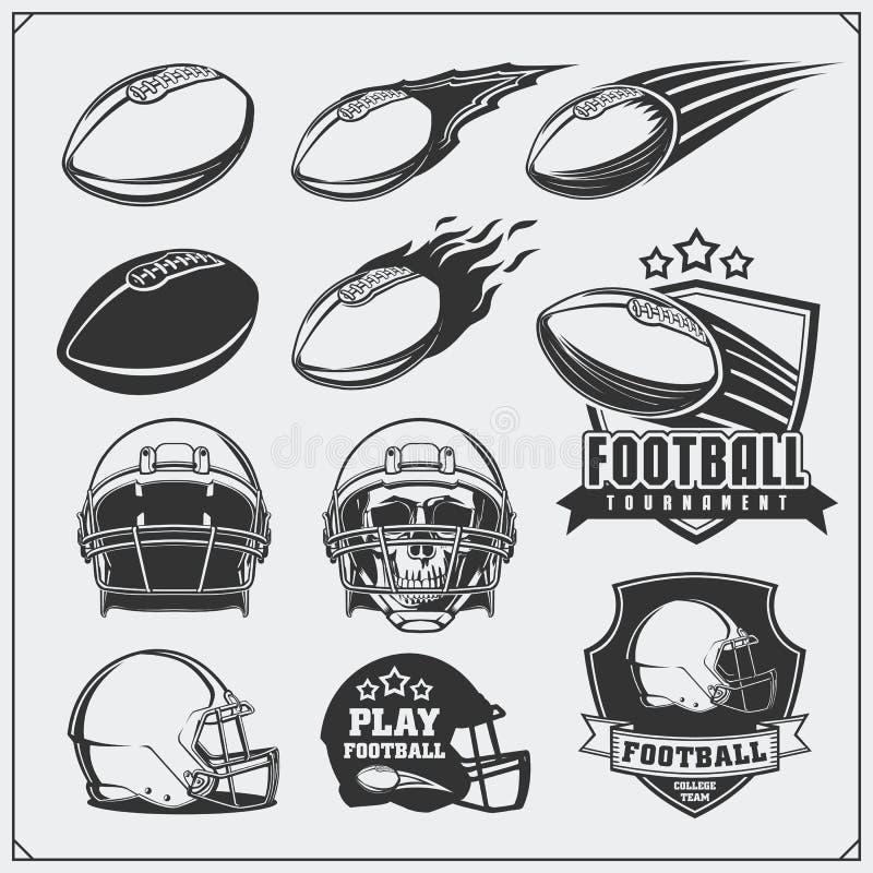 Fußball-Fußballaufkleber, -embleme und -Gestaltungselemente Bälle und Sturzhelme Karikatur polar mit Herzen lizenzfreie abbildung