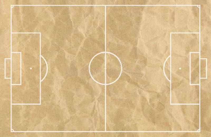 Fußball-Fußballplatz mit weißer Linie auf altem Papier vektor abbildung