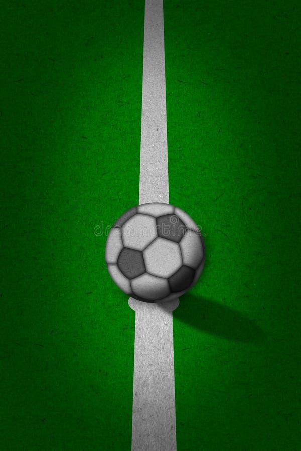 Fußball - Fußballplatz mit Zeilen auf grunge Papier stockfotografie