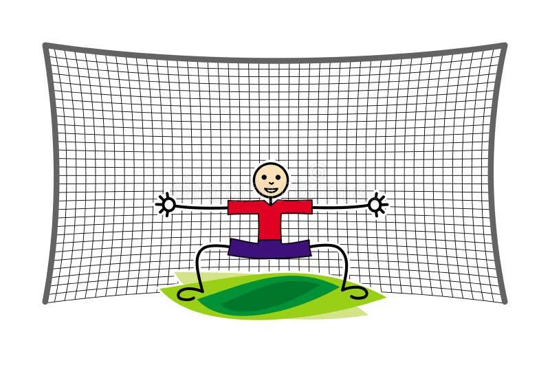 Fußball-/Fußballtorhüter im Ziel Lustiges Karikaturbild Entwerfer Evgeniy Kotelevskiy lizenzfreie abbildung