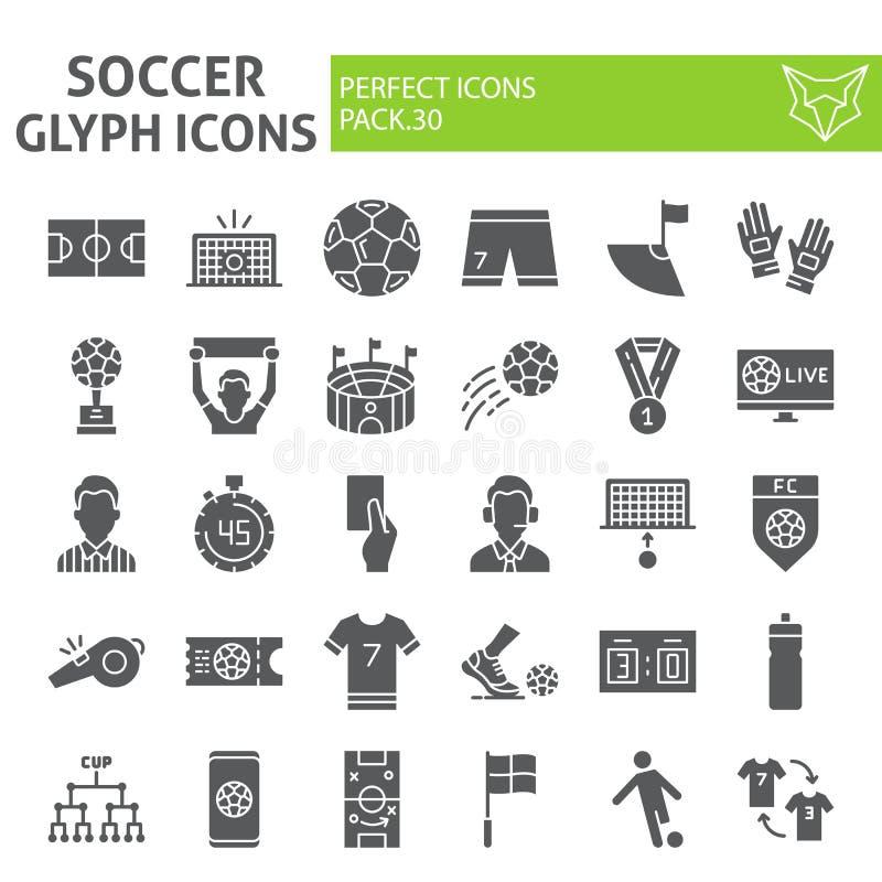 Fußball Glyph-Ikonensatz, Fußballsymbole Sammlung, Vektorskizzen, Logoillustrationen, Sportspielzeichen fest stock abbildung