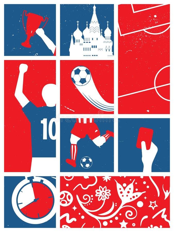 Fußball-/Fußball-Hintergrund Russischer Thema-Fußball-Retro- Plakat vektor abbildung