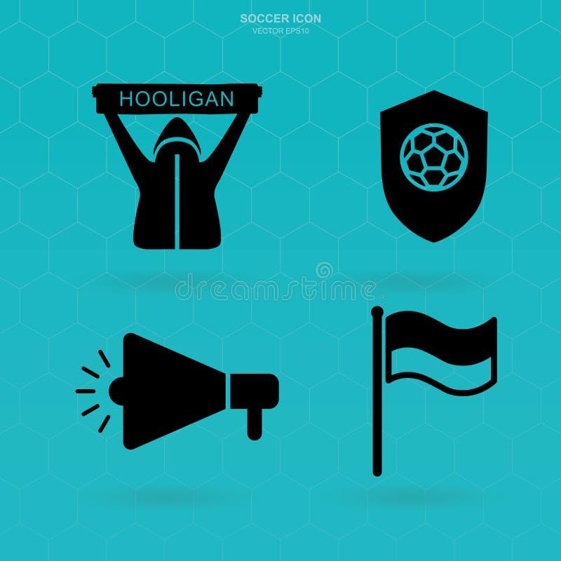 Fußball-Ikonen eingestellt Fußballfanclubzeichen und -symbol Vektor lizenzfreie abbildung