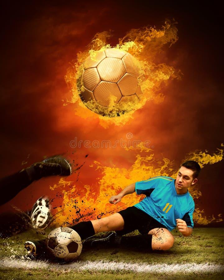 Fußball im Feuer stockbild