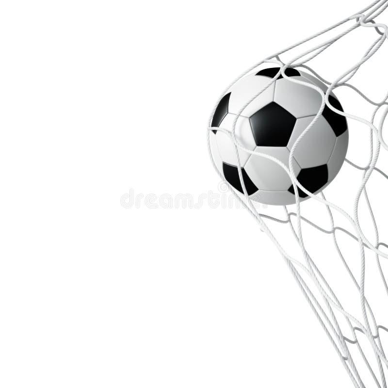Fußball im Netz getrennt lizenzfreie abbildung