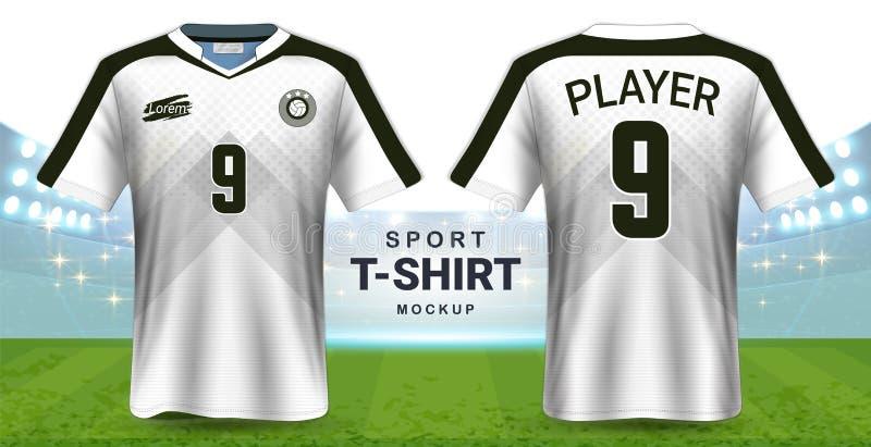 Fußball Jersey und Sportkleidungs-T-Shirt Modell-Schablone, realistisches Grafikdesign-vordere und hintere Ansicht für Fußball Ki vektor abbildung