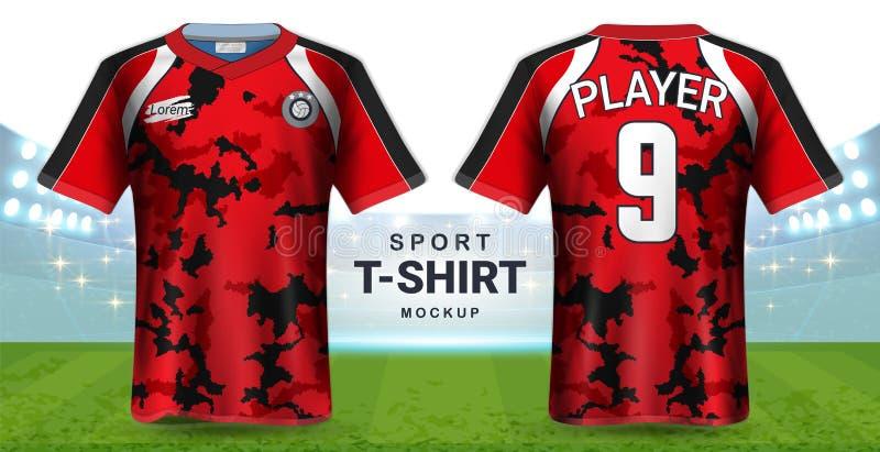 Fußball Jersey und Sportkleidungs-T-Shirt Modell-Schablone, realistisches Grafikdesign-vordere und hintere Ansicht für Fußball Ki stock abbildung