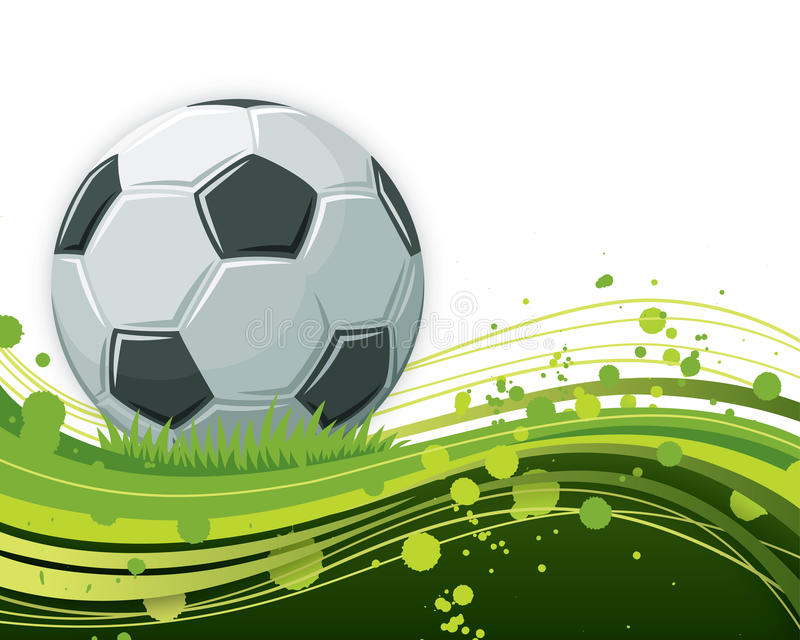 Fußball-Kugel auf wellenförmigem Hintergrund lizenzfreie abbildung