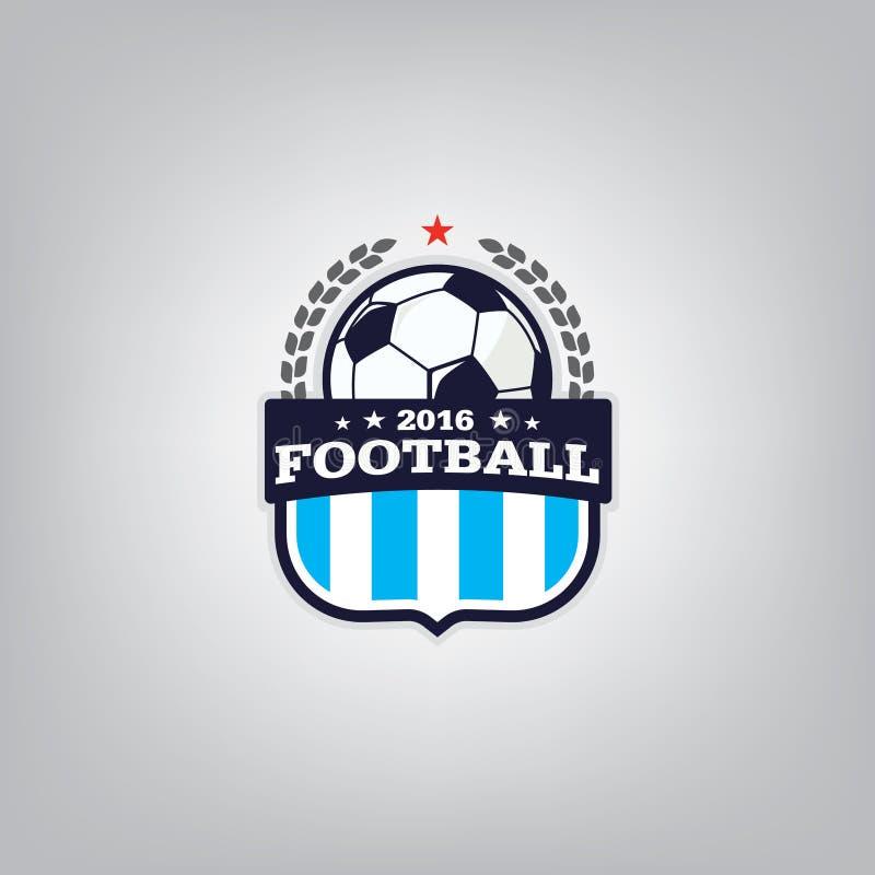 Fußball Logo Design Template, Fußballausweis-Teamidentität, Fußball-Fußball-T-Shirt Grafik lizenzfreie abbildung