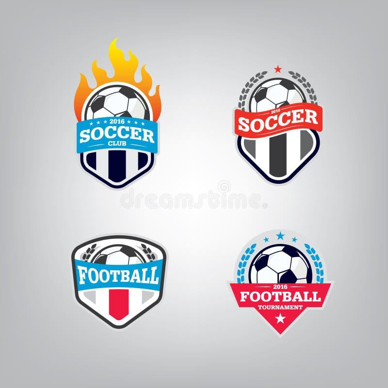 Fußball-Logo Design Template-Satz, Fußballausweisteam-Identitätssammlung, Fußball-Fußball-T-Shirt Grafik stock abbildung