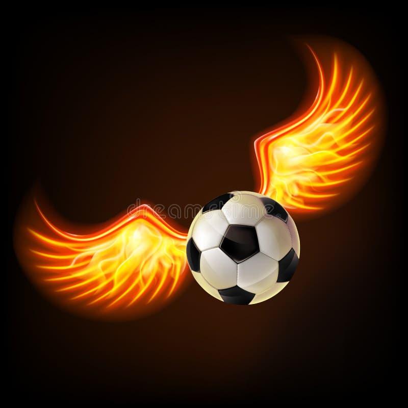 Fußball mit brennenden Flügeln stock abbildung