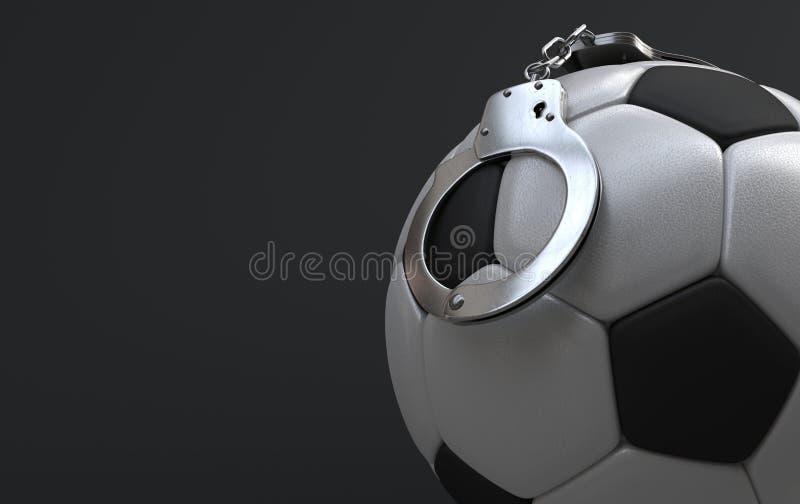 Fußball mit den Handschellen lizenzfreie abbildung