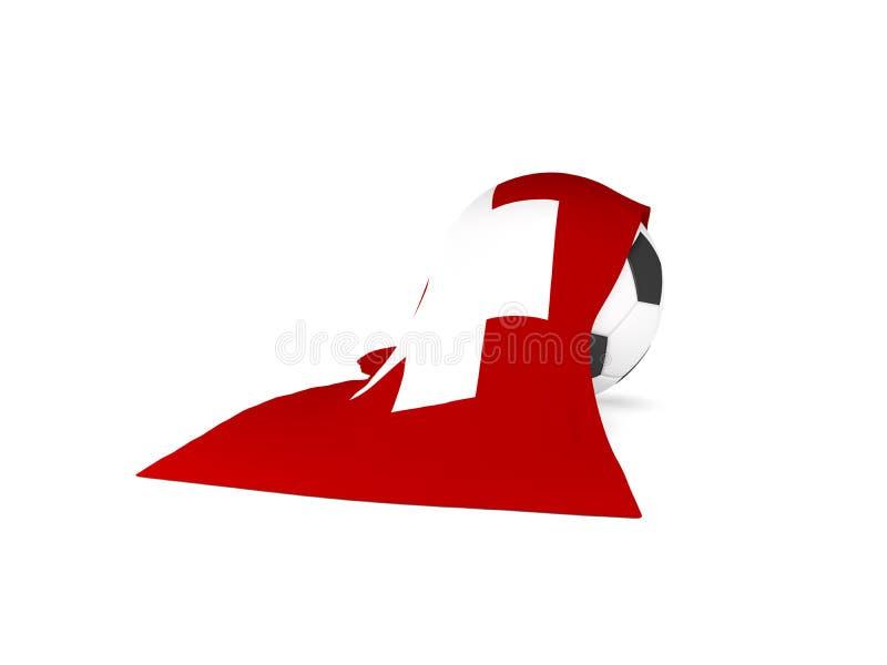 Fußball mit der Flagge von der Schweiz stock abbildung