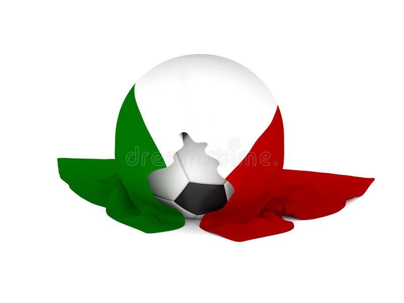 Fußball mit der italienischen Flagge stock abbildung