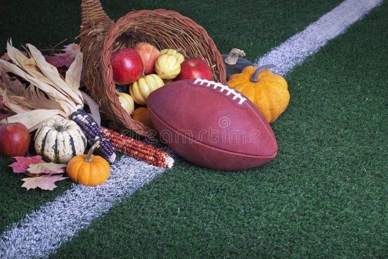 Fußball mit einer Fülle auf einer Rasenfläche lizenzfreies stockfoto