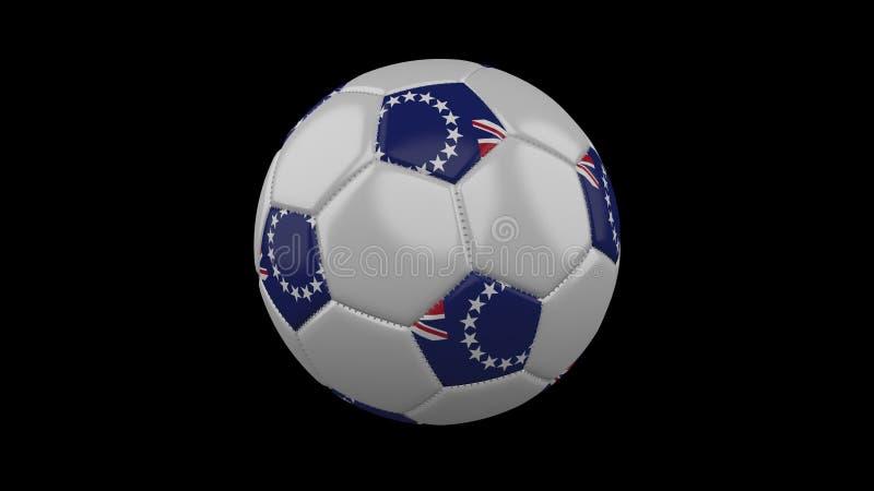 Fußball mit Flagge Koch Islands, Wiedergabe 3d vektor abbildung